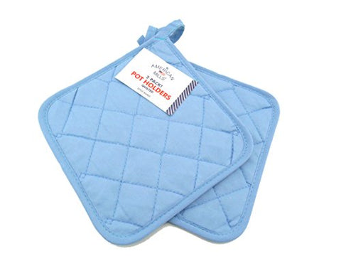 American Mills 2 pack Solid Color Quilted Pot Holder (Blue)