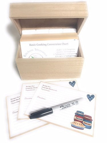 92 Piece Recipe Box and Card Bundle Set - Natural Wood. The Perfect Recipe Card Holder.