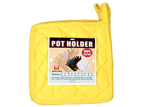 "HM Covers Pot Holders 100% Cotton (Pack of 10) Pot Holder 8"" x 8"" Square, Solid Yellow Color Everyday Quality Kitchen Cooking, Heat Resistance!!"