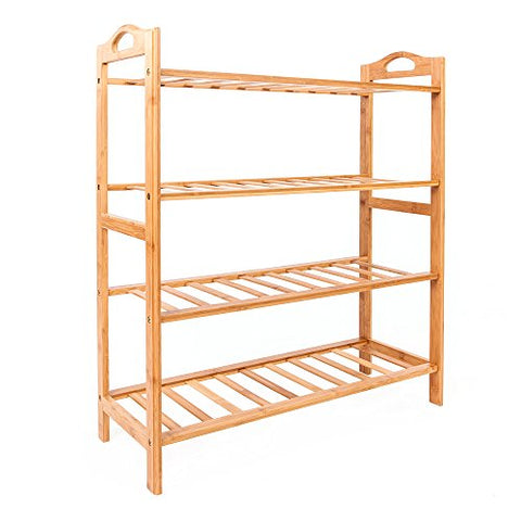 4-Tier Bamboo Shoe Rack 100% Natural Bamboo Shoe Rack Shelf Holder Plant Flower Display Stand Home Entryway Shoe Shelf Storage Organizer for Closets Kictchen Bedrooms or Doorways