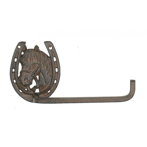 Country Collection Western Horse Shoe Bathroom Toilet Paper Holder, Towel Rack Hoop, Cast Iron, Wall Mounted, 10-inch