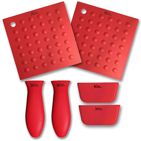 6 Piece Silicone Kitchen Set - Kitchen Addiction 2 Hot Handle Holders, 2 Trivet/Potholder/Grippers, 2 Assist Handles Set (Red)