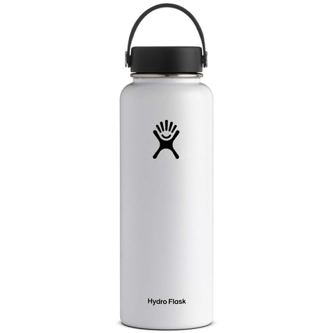 Hydro Flask 40 oz Double Wall Vacuum Insulated Stainless Steel Leak Proof Sports Water Bottle, Wide Mouth with BPA Free Flex Cap, White
