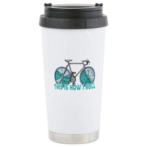 CafePress How I Roll (Bicycle/Bike) Stainless Steel Travel M Stainless Steel Travel Mug, Insulated 16 oz. Coffee Tumbler