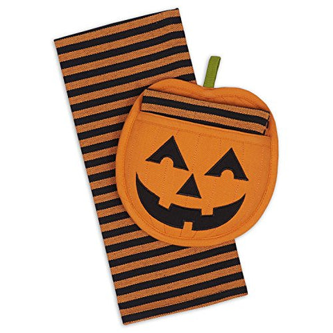 DII Cotton Haloween Holiday Dish Towel and Pot Holder Gift Set, Perfect for Kitchen Cooking and Baking-Jack O' Lantern