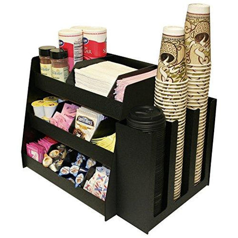 2 Piece Combo Coffee Condiment Organizer And A 3 Column Cup And Lid Holder...For One Great Price ! A Very Professional Coffee Program Presentation. Comes With 6 Extra Tall Shelf Dividers That Are Movable &Amp; Removable. Proudly Made In The Usa! By Ppm.
