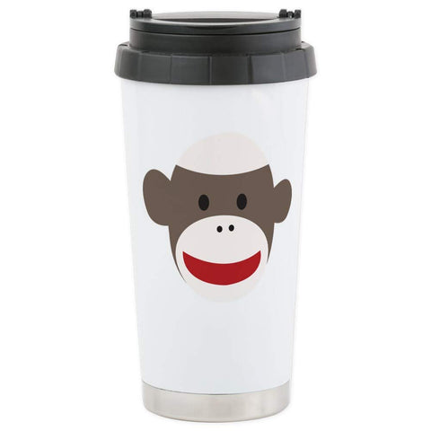CafePress Sock Monkey Face Stainless Steel Travel Mug Stainless Steel Travel Mug, Insulated 16 oz. Coffee Tumbler
