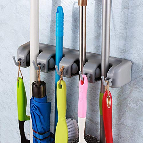Broom Holder, Wall Mount Mop Holder Broom Hanger Organizer with 4Ball Slots and 5 Hooks, Holds Up to 5 Tools for Kitchen, Bathroom, Garage