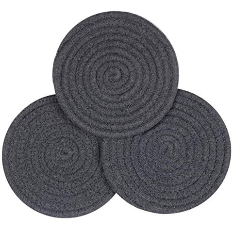 Lifaith 100% Cotton Thread Weave Pot Holders, Hot Pads, Pot Holders, Spoon Rest, Jar Opener & Coasters, for Cooking and Baking, Diameter 7 Inches, Round, Set of 3, Grey
