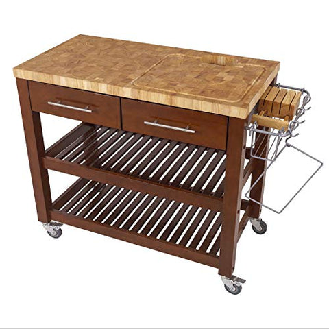 Chris & Chris Chef Series Rolling Kitchen Island - Food Prep Table with Durable Cutting Surface, Juice Groove and Collection Pan - Features 2 Drawers, 2 Shelves and Towel Bar, Espresso