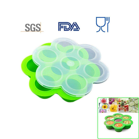 7 Holes Silicone Cooker Egg Cake Bake Molds for Instant Pot Accessories - Fits Instant Pot 5,6,8 qt Pressure Cooker, Reusable Storage Container and Freezer Tray with Lid, Baby Food container. Green