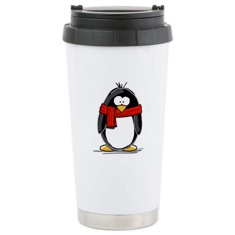 CafePress Red Scarf Penguin Stainless Steel Travel Mug Stainless Steel Travel Mug, Insulated 16 oz. Coffee Tumbler