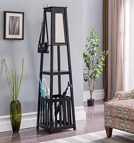 Kings Brand Furniture - Entryway Hall Tree Coat Rack Stand with Storage Shelf, Black, Black