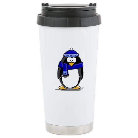 CafePress Blue Scarf Penguin Stainless Steel Travel Mug Stainless Steel Travel Mug, Insulated 16 oz. Coffee Tumbler