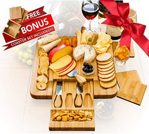 Bamboo Cheese Board Set With 4 x Cheese Knives Cutlery in Slide Drawer PLUS FREE Gift - 4 Piece Wine Coaster Set Beautifully Engraved with Stylish Holder LIMITED HOLIDAY SALE!