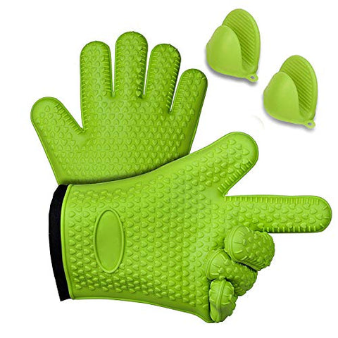4 Pcs BBQ Grilling Gloves - Heat Resistant Oven Mitts for Cooking, Baking & Boiling - Safely Holds Hot Pots and Pans - Non-Slip Potholders with Internal Cotton Layer - Includes Mini Oven Mitt