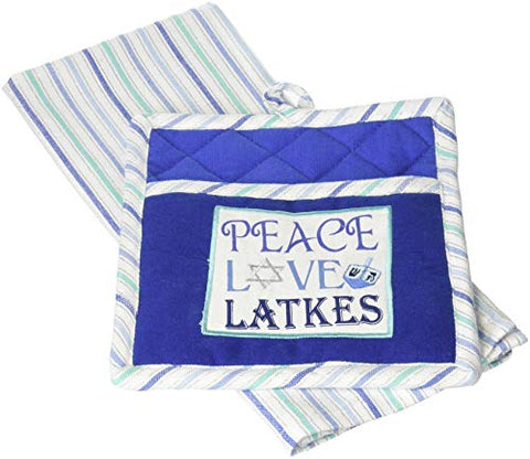 DII CAMZ10201 Hanukkah Chanukah Dish Towel and Pot Holder Set, Kitchen Gift 8 x 9 18 x 28 (Dishtowel)