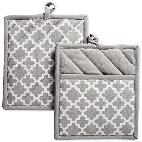 "DII Cotton Lattice Pot Holders, 9 x 8"" Set of 2, Machine Washable and Heat Resistant Hot Pad for Everyday Kitchen Cooking & Baking-Gray"
