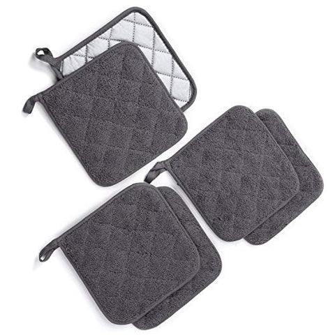 Jennice House Potholders Set, Heat Resistant Hot Pads Mats Coasters Terry Cotton Pot Holders for Cooking and Baking, Set of 6(Gray)