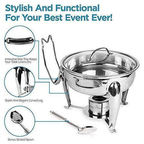 4 Quart Round Stainless Steel Chafing Dish with Bonus Slotted Spoon and Drip Tray for Lid