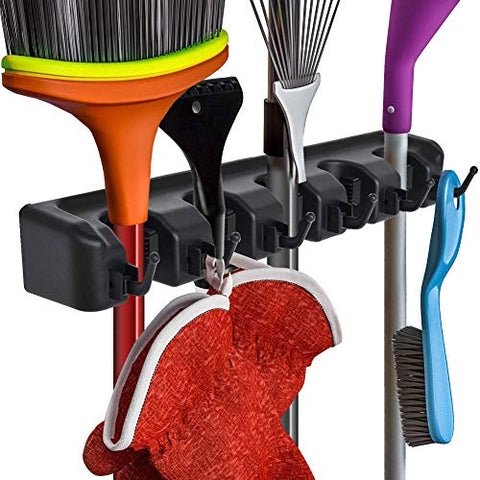 Shyneer Broom Holder Mop and Garden Tool Organizer for Rake?5 Position with 6 Hooks Garage Storage Holds up to 11 Tools?Black?