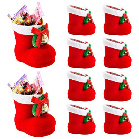 lucktone 10PCS Christmas Candy Boots Shoes for Candy Stockings Gift Holder Home Party Festival Decoration Red