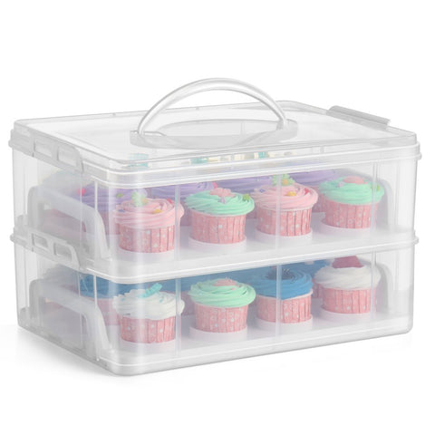 Flexzion Cupcake Carrier Holder Container Box (24 Slot, 2 Tier) - 24 Cupcakes Slot or 2 Large Cakes Pastry Clear Plastic Storage Basket Taker Courier with 2 Tier Stackable Layer Insert (Clear)