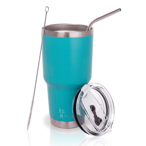 30 ounce Stainless Steel Tumbler with Straw and Lid,Travel Coffee Mugs for Women and Men,Mint