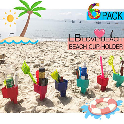 Beach Cup Holder Multifunction Beach Cup Holder Sand Grass Drink Holder for Beverage Phone Sunglasses Sunscreen Key Vacation Accessory Beach Gear 6-Pack(Random Color)