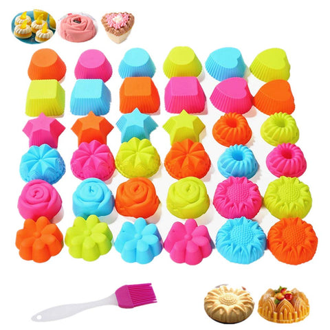 KeepingcooX Silicone Cupcake Liners Baking Cups Non-Stick Jumbo Reusable Muffin Molds | Bento Bundle Lunch Box Dividers | Castle, Rose, Star, Heart, BPA Free, 2.75 x 1.30 Inch, 36 Pcs+1 Pastry Brush