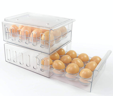 Foxko Egg Holder, Refrigerator Storage Organizer For Kitchen, Stackable Container, Holds 24 Eggs, Removable Drawer
