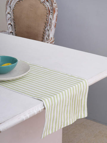 "Cotton Table Runner (13 X 108 Inches), Green & White Stripe - 1"" Hemmed With Mitered Corner,Perfect For All Seasons And Holidays"