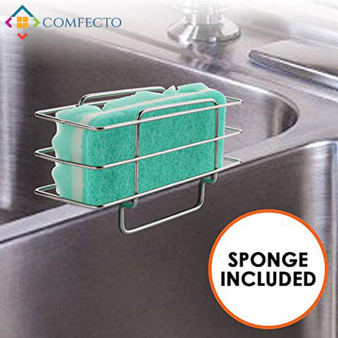 Kitchen Sponge Holder Stainless Steel Sink Caddy Organizer Drainer Rack for Dish Soap Dishwashing Liquid Brush with Anti Slip Grip - Wire Basket Design for Sanitary Drying - Sponge Included