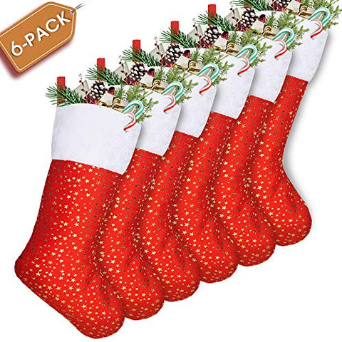 LimBridge Christmas Stockings, 6 Pack 18 inches Golden Star with White Plush Trim, Classic Personalized Large Stocking Decorations for Family Holiday Season Decor, Red