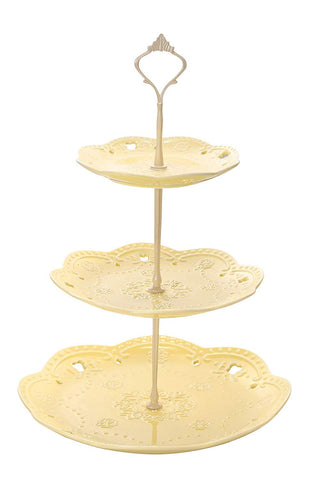 3 -Tier Ceramic Cupcake Stand - Elegant Embossed Porcelain Dessert Display Cake Stand - For Birthday Weddings Tea Party Colorful and Diverse (Canary Yellow)