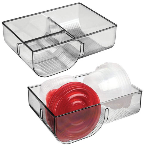 mDesign Food Storage Container Lid Holder, 3-Compartment Plastic Organizer Bin for Organization in Kitchen Cabinets, Cupboards, Pantry Shelves - 2 Pack - Smoke Gray