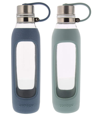 Contigo Purity Glass Water Bottle - Protective Silicone Sleeve and Tethered Lid Included - Tasteless and Odorless Drinking - 100% BPA-Free - 20-Ounce, 2 Pack, Sea Glass and Stormy Weather