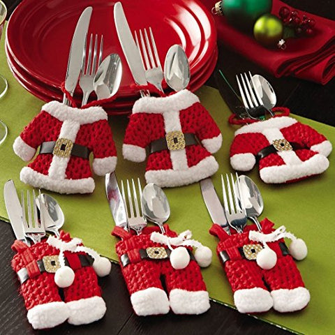 creamily Santa Knife Fork Cover Christmas Tableware Cutlery Holder Party Silverware Pocket Table Decorations Ornaments Pants Jackets 6 PCS