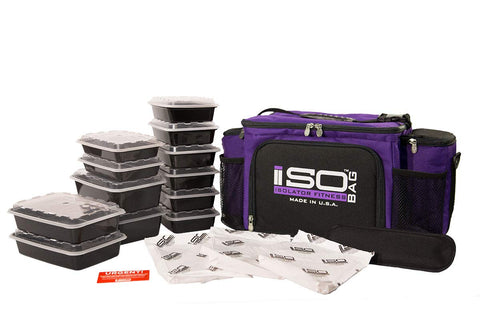 Isolator Fitness 6 Meal ISOBAG Meal Prep Management Insulated Lunch Bag Cooler with 12 Stackable Meal Prep Containers, 3 ISOBRICKS, and Shoulder Strap - MADE IN USA (Purple/Black)