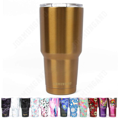Jormungand Tumbler 30oz Stainless Steel Vacuum Insulated Travel Mug with Straw Friendly Lid Double Wall Coffee Cup Golden