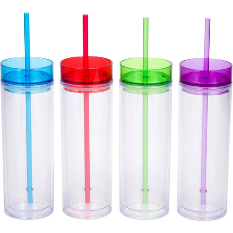 12 Acrylic Tumblers with Lids and Straws, 16oz Skinny Travel Cups, Insulated Double Wall (Tinted)