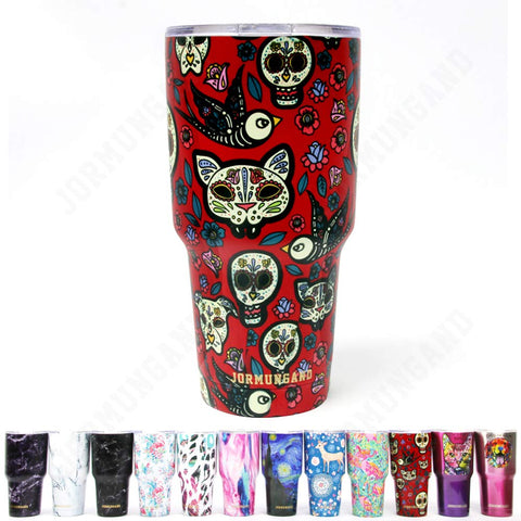 Jormungand Tumbler 30oz Stainless Steel Vacuum Insulated Travel Mug with Straw Friendly Lid Double Wall Coffee Cup Sugar Skull Red