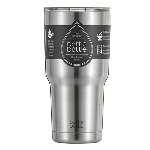 Bottlebottle 30 oz Insulated Travel Coffee Cup Stainless Steel Tumbler, Brush Stainless Steel