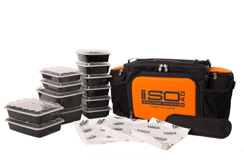 IsoBag Meal Prep System (6 Meal Isobag, Black/Orange Accent)