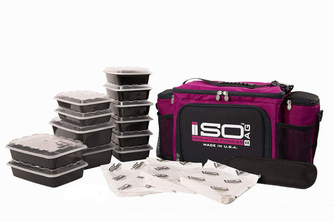 Isolator Fitness 6 Meal ISOBAG Meal Prep Management Insulated Lunch Bag Cooler with 12 Stackable Meal Prep Containers, 3 ISOBRICKS, and Shoulder Strap - MADE IN USA (Fuchsia/Black)