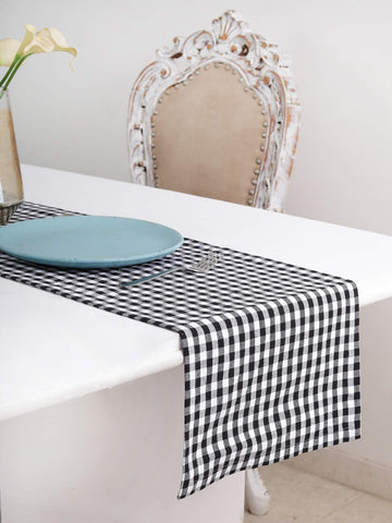 "Cotton Table Runner (13 X 108 Inches), Black & White Check - 1"" Hemmed With Mitered Corner,Perfect For All Seasons And Holidays"