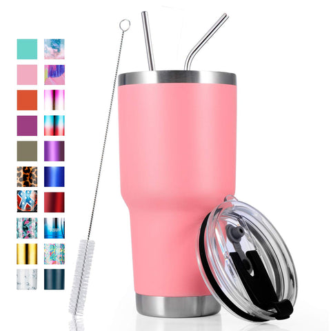 30oz Stainless Steel Insulated Pink Tumbler Travel Mug with Straw Slider Lid, Cleaning Brush, Double Wall Vacuum