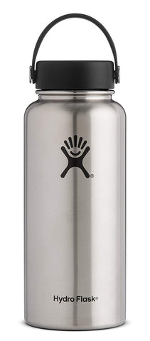 Hydro Flask 32 oz Double Wall Vacuum Insulated Stainless Steel Leak Proof Sports Water Bottle, Wide Mouth with BPA Free Flex Cap, Stainless