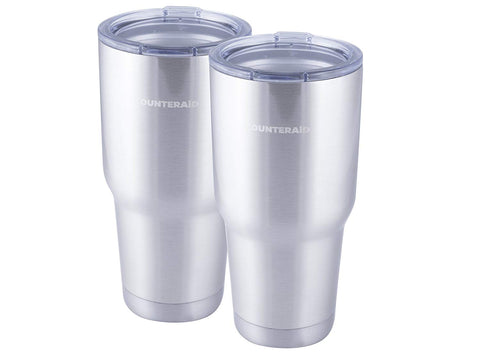 Counter Aid Stainless Steel Travel Coffee Mugs - 30oz Double Insulated Outdoor/Car Cups - Hot and Cold Tumblers with Lids - Pack of 2