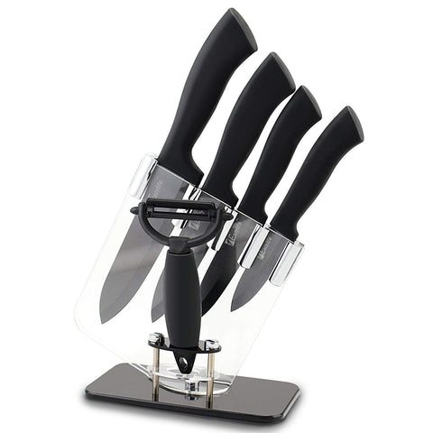 "1Easylife Professional 6 Piece Ceramic Knife Cutlery and Peeler Set, Includes 6"" Chef's, 5"" Utility/slicing, 4"" Paring, 3"" Fruit Knife and One Peeler with Block, Black Handle and Black Blade (Black with Blocked)"